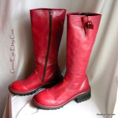 Vintage Leather Platform Boots RED Size 9 .5 Eu 41 UK 7 by GoodEye, $66.00