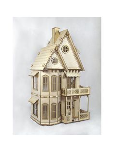 Deluxe Victorian Gingerbread Dollhouse Kit, Doll House Kit. Heart Motif, Wood
