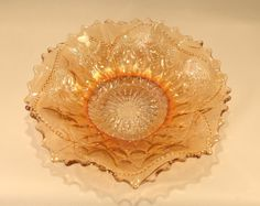 Dugan Marigold Carnival Glass Bowl, Fish Scale and Beads, Small Dish, Peach Lustre, Ruffled Rim by on Etsy Retro Vintage, Vintage Items, Fish Scales, Carnival Glass, Glass Collection, Candy Dishes, Marigold, Luster, Beading Patterns