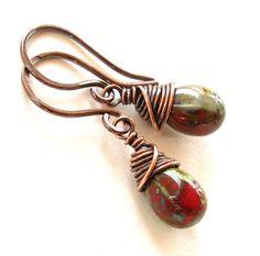 Red dangle earrings Picasso glass teardrops by dalystudios