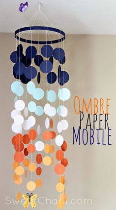 40 Best Paper Crafts Ever Created ombre paper mobile<br> One of my favorite DIY past times is so underrated by so many. Not sure how more people don't have a love for paper crafts. How about you? If you don't know by now how so many things there are that you can make from a simple piece of paper, you are about to learn. When you don't feel like getting out a ton of supplies or making something super complicated, paper can be your new crafting best friend. I keep a good supply of pretty… Diy Room Decor For Teens, Diy Crafts For Teens, Diy For Girls, Craft Ideas, Decor Ideas, Kids Diy, Kids Crafts, Creative Crafts, Adult Crafts