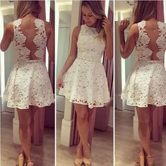 homecoming dresses, junior homecoming dress, short prom dress, white lace prom dress, dresses for juniors, cocktail dress,1430