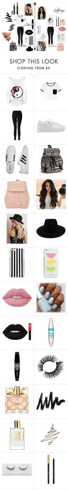 """""""School w/Olivia"""" by madeline-lemon ❤ liked on Polyvore featuring Miss Selfridge, adidas, NLY Accessories, New Look, rag & bone, MICHAEL Michael Kors, Kate Spade, Lime Crime, Maybelline and Avon"""
