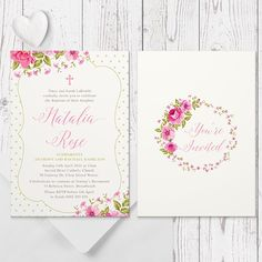 Shabby Chic vintage pink floral wreath Baptism or Christening Invitation double sided Peach Perfect Australia