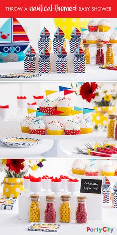 O-fishally expecting? Get your crew ready and throw a DIY nautical-themed baby shower! First, make sure your deck is fully stocked with tableware, party favors and décor. Set up a color-coordinated candy buffet with sweets. Then, add a splash of fun with colorful cupcake liners and a pennant. Set out nautical-themed plates and napkins. Finally, place favor boxes on the table so mates can grab on the go!
