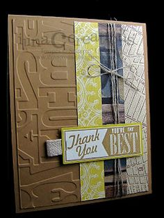 "Fabulous Embossed ""Thank You"" Card...ilina crouse: My Creations: Hello Soho Subway."