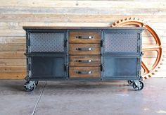 Large Ellis Console With Drawers by Vintage Industrial