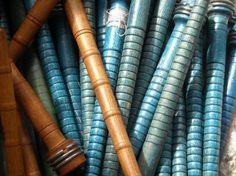 vintage wooden spools bobbins
