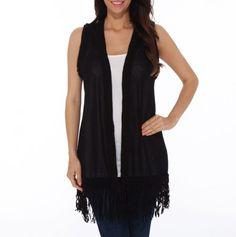 Crochet Trim Vest with Fringe - Hot Tops: Summer Stock Up - Events