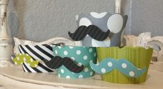 Mustache cupcake wrappers YOU choose the colors by whimzycreations, $13.00