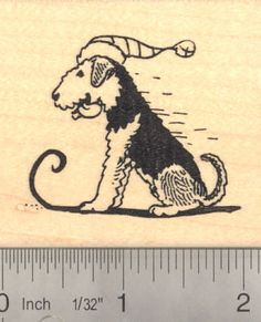 Airedale Terrier Dog Sledding Rubber Stamp  Wood by Rubberhedgehog, on etsy