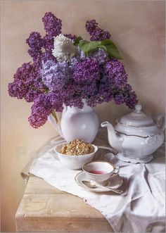 Jaroslaw Blaminsky Still life with teaset and fresh lilac flowers Poster   Posterlounge
