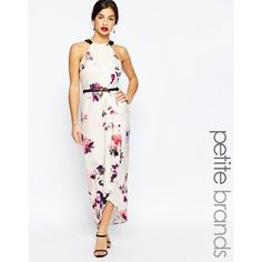 Little Mistress Petite Floral Printed Halter Maxi Dress With Wrap... (165 BGN) ❤ liked on Polyvore featuring dresses, multi, petite, white dress, halter top, halter top maxi dress, wrap maxi skirt and floral dress