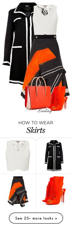 """""""Peter Pilotto Aneta Asymmetric Skirt"""" by lindsayd78 on Polyvore featuring Boutique Moschino, Lipsy, Peter Pilotto and Christian Louboutin"""