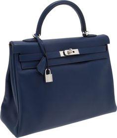 Hermes 35cm Blue Abysse Tadelakt Leather Retourne Kelly Bag with Palladium  Hardware Kelly Bag, Hermes ef611cebce