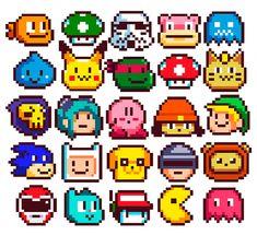 Pixel stickers on Behance Pixel Pattern, Pattern Art, Pixel Tattoo, Pixel Characters, Nintendo Characters, Pixel Drawing, Pixel Beads, 8 Bit Art, Pixel Art Templates