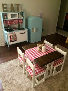Ikea Toy Kitchen Hack, Dyi Play Kitchen, Ikea Childrens Kitchen, Play Kitchens, Kitchen Nook, Children Table And Chairs, Waverly Chalk Paint, Painted Fridge, Ikea Baby