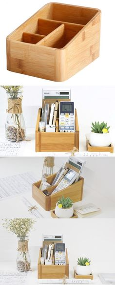 Bamboo Desk Organizer Pen Pencil Holder Business Name Cards Remote Control Holder Office Desk Organization, Small Bathroom Organization, Desktop Organization, Wooden Desk Organizer, Wood Storage Box, Pencil Holder, Pen Holders, Card Holder, Diy Desktop
