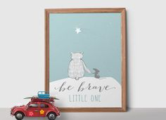 Be Brave Little One Nursery Print, Bear Nursery Printable Art, Bear Wall Art, Modern Nursery Art, Nursery Quote, Boy Nursery Print - pinned by pin4etsy.com