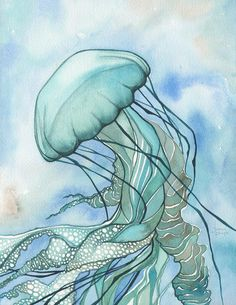 Turquoise JELLYFISH - print of watercolour painting in elegant sea foam with aqua tentacles and lace delicacy, sea ocean love whimsical art Silk Painting, Painting & Drawing, Jellyfish Art, Jellyfish Drawing, Jellyfish Decorations, Sea Art, Watercolor Artwork, Sea And Ocean, Whimsical Art