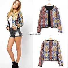 Women Retro Ethnic Embroidered Floral Print Quilted Coat Jacket Cardigan S M L