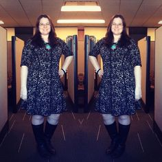 Taylor Dresses Fit & Flare Sweater Dress in Rose Print on Gwynnie Bee member Dawn