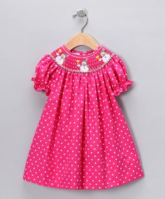 Hot Pink Polka Dot Snowman Bishop Dress