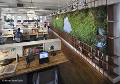 When I have a great office, it would be like this! Open Plan Green eco office