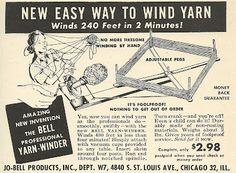 1952 ad: Easy Way to Wind Yarn