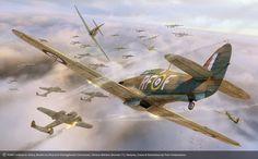 Fury, by Piotr Forkasiewicz (Hawker Hurricane Mk I, 303 Sqn. RAF, vs Dornier Do…