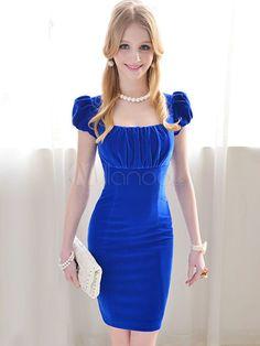 Elegant Blue Polyester Square Neck Short Sleeves Women's Bodycon Dress