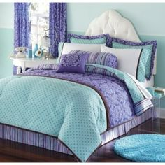 damask bedding girls room would love if it were another color. I HATE PURPLE!!!