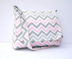 Chevron Purse Fabric Messenger Bag  Grey and by JHFabricCreations, $43.00