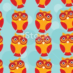 Cute seamless pattern with owl on a blue background. vector Royalty Free Stock Vector Art Illustration
