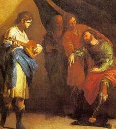 Bernardo Cavallino  1616-1656  DAVID PLAYING BEFORE SAUL (detail)