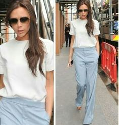 VB in London. Love her look. Victoria Beckham Style, Ruffle Blouse, Suits, Tops, Women, Fashion, Moda, Fashion Styles, Suit