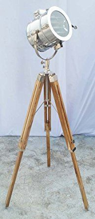 Nautical Royal Searchlight Floor Lamp Spotlight Wooden Tripod For ...