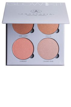 """Her Tip:  """"There are such beautiful shades in this palette. I love to dampen a blending brush with Tachta Skin Mist and buff the highlighter in the desired areas. By wetting the product it becomes more intense.""""—      Sarah Tanno (@sarahtannomakeup) Her Pick: Anastasia Glow Kit in Gleam, $40, anastasiabeverlyhills.com."""