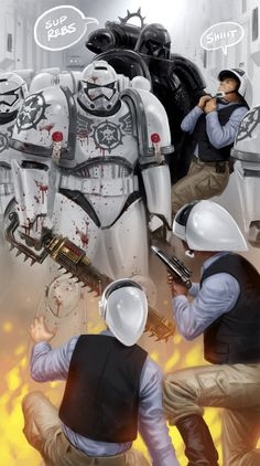 the-emperor-protects: Inquisitor Vader has a nice chat with some heretical rebels. Image by:jedi-art-trick.