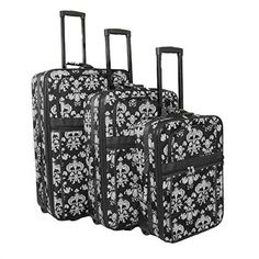 Luggage Sets Collections | World Traveler Damask Ll Expandable Upright Luggage Set Black White Damask Ll ** To view further for this item, visit the image link. Note:It is Affiliate Link to Amazon. #shoutoutback