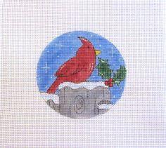 Cardinal Red Bird Sitting on Snowy Fence Post by MarsyesNPCanvas
