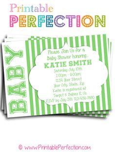 Baby Shower Invitation - Green Stripes