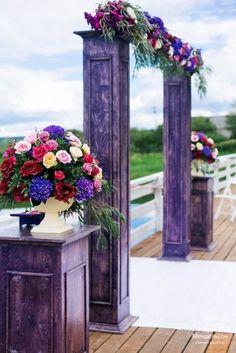 Свадебная арка в фиолетовом цвете