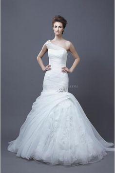 Zeemeermin Een Shouder Tule Bruidsjurken Online