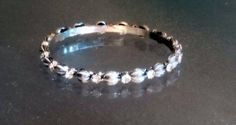 Vintage Silver Tone Bangle with Enamel and Silver by BrownJewels