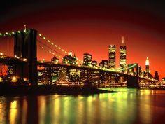 new york brooklyn bridge lights 1024x768 wallpaper