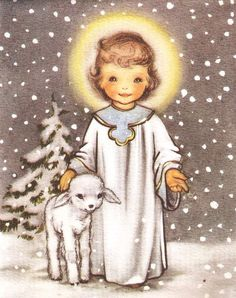 An angel & lamb. Sweet as can be. The snow in the background is a nice touch.