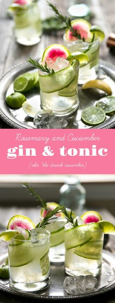 Easy Cucumber, Rosemary, and Watermelon Radish Gin & Tonic - Essen und Trinken Gin Und Tonic, Chinese Lemon Chicken, Cheesy Breadsticks, Watermelon Radish, Frappe, Yummy Drinks, Clean Eating Snacks, Cocktail Recipes, Easy Gin Cocktails