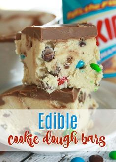 the lookout for desserts? Easy & no bake are my favorite! We made this cookie dough recipe (edible dessert bars) and they FLEW off the countertop. No bake dessert bars recipes are awesome as they're easy and travel well, too. Easy To Make Desserts, Köstliche Desserts, Dessert Recipes, Healthy Desserts, Cheesecake Desserts, Raspberry Cheesecake, Holiday Desserts, Mexican Desserts, Plated Desserts