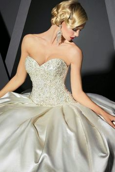 0f203ea609dbe Victor Harper Couture - Strapless ombre satin ball gown with ribbon lace    beaded bodice.